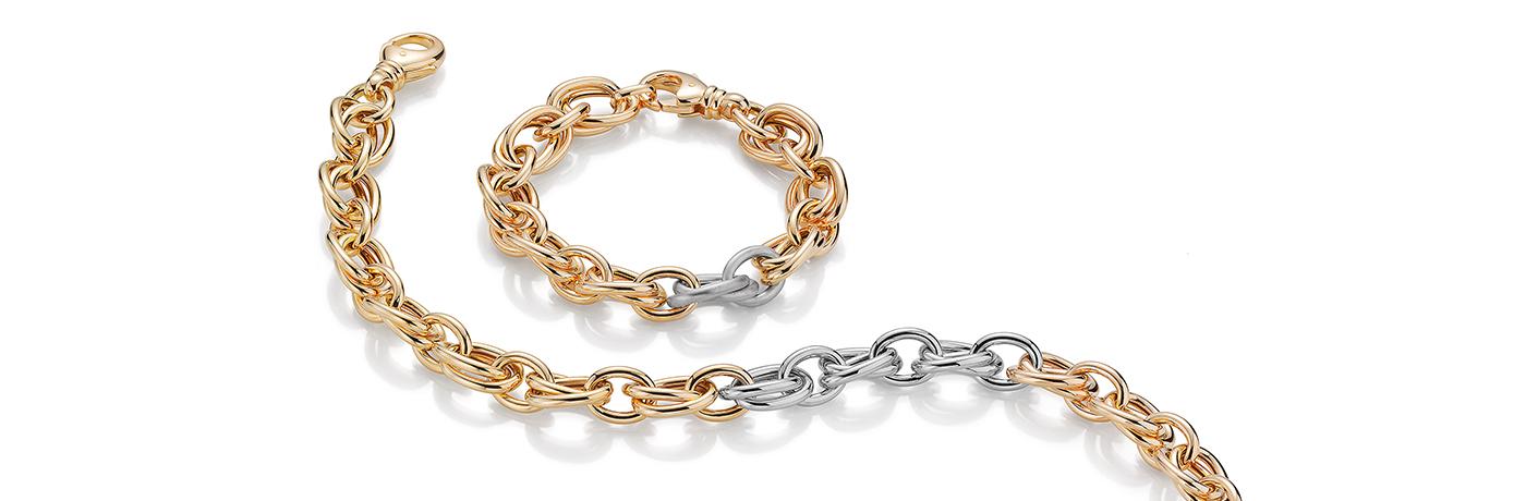 Produktbild einer klassischen Goldkette mit silbernen Elementen
